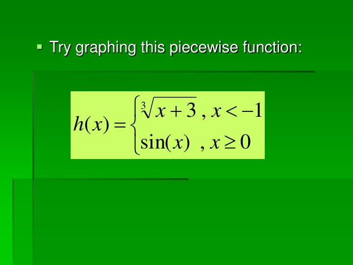 Try graphing this piecewise function:
