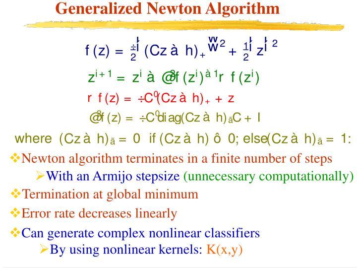 Generalized Newton Algorithm