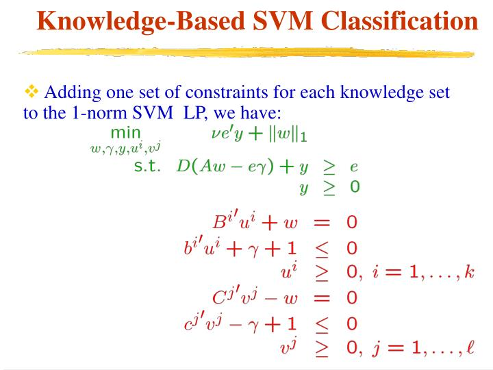 Adding one set of constraints for each knowledge set to the 1-norm SVM  LP, we have: