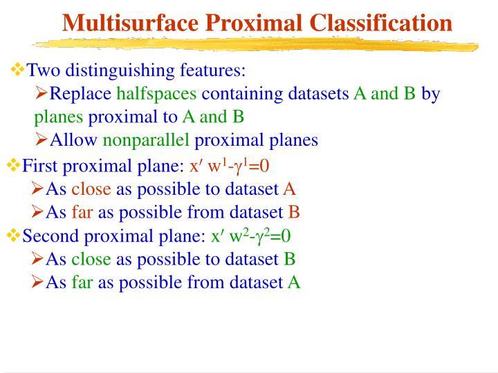 Multisurface Proximal Classification