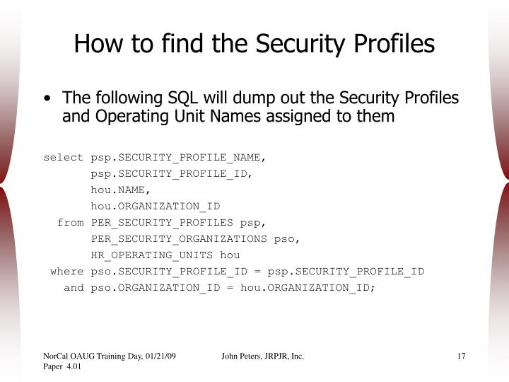 How to find the Security Profiles