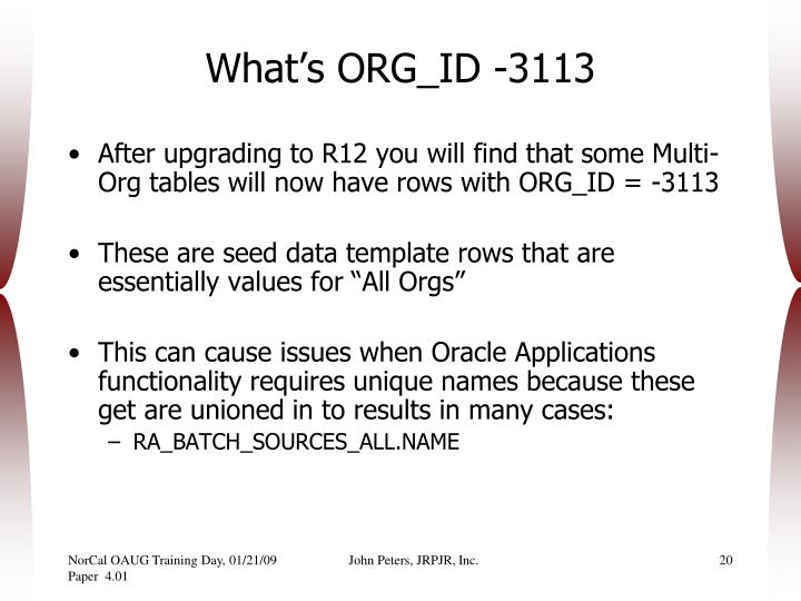 What's ORG_ID -3113