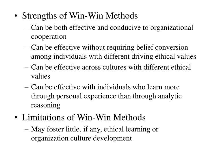 Strengths of Win-Win Methods