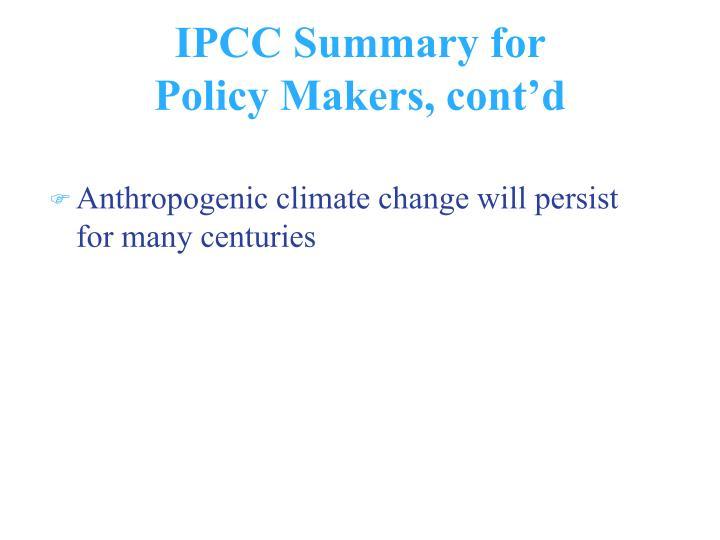 IPCC Summary for