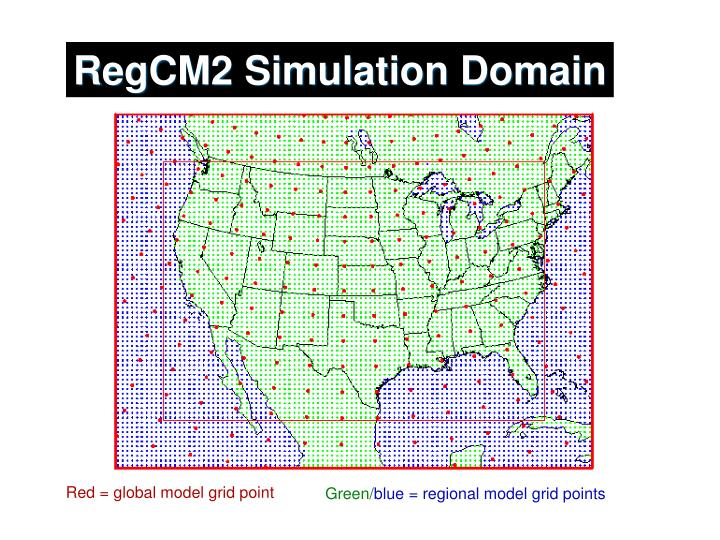 RegCM2 Simulation Domain