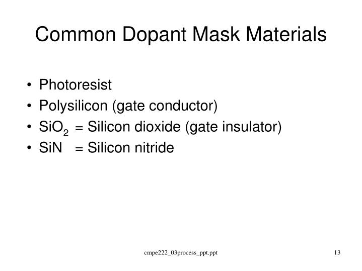 Common Dopant Mask Materials