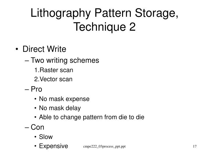 Lithography Pattern Storage, Technique 2