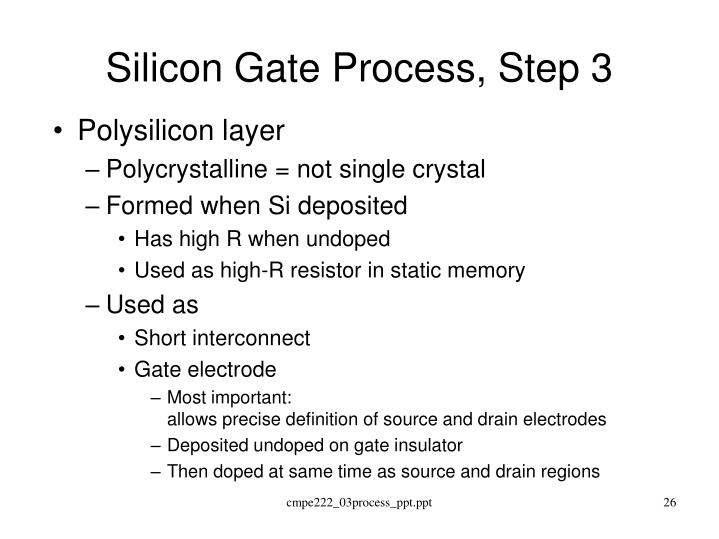 Silicon Gate Process, Step 3