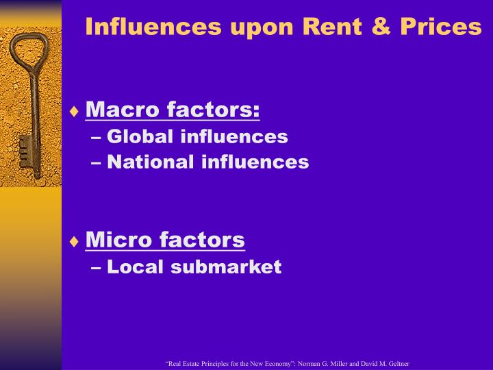 Influences upon Rent & Prices