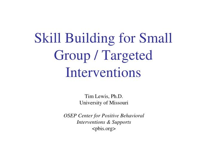 skill building for small group targeted interventions