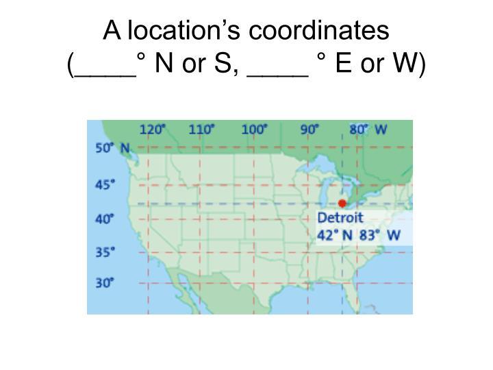 A location's coordinates