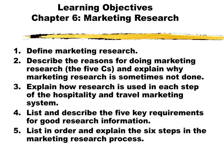 learning objectives chapter 6 marketing research