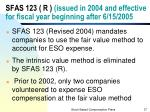 sfas 123 r issued in 2004 and effective for fiscal year beginning after 6 15 2005