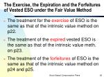 the exercise the expiration and the forfeitures of vested eso under the fair value method