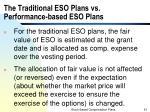 the traditional eso plans vs performance based eso plans