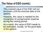 the value of eso contd