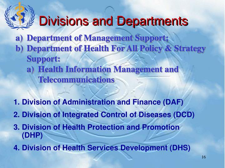 Divisions and Departments