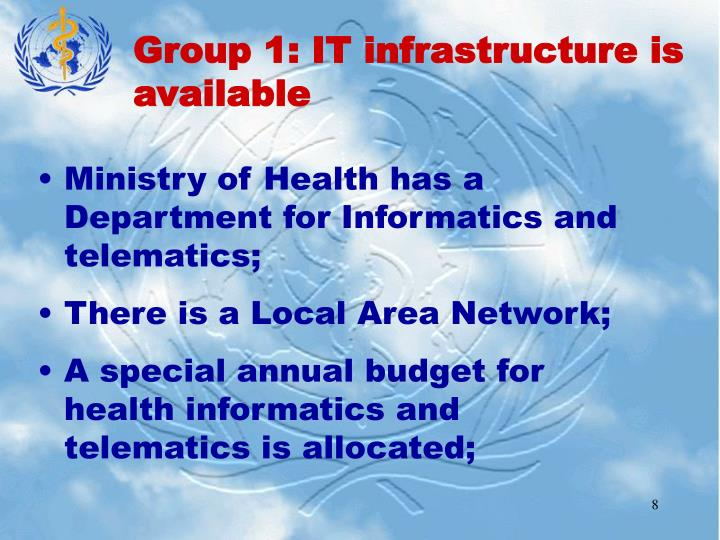 Group 1: IT infrastructure is available