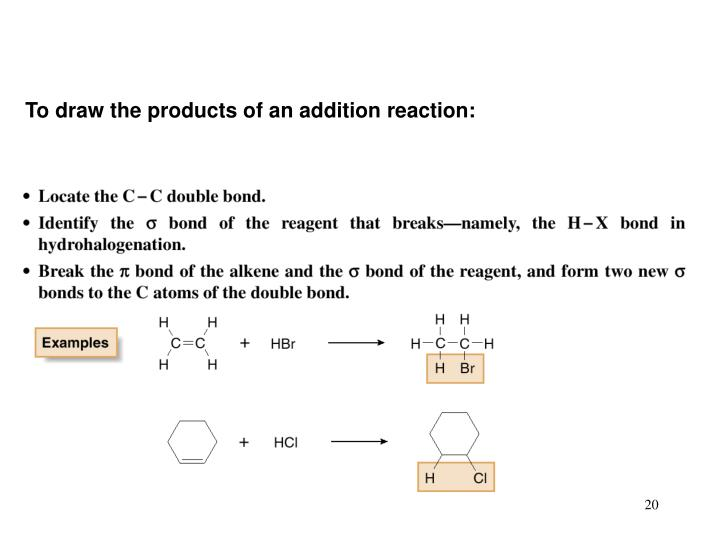 To draw the products of an addition reaction: