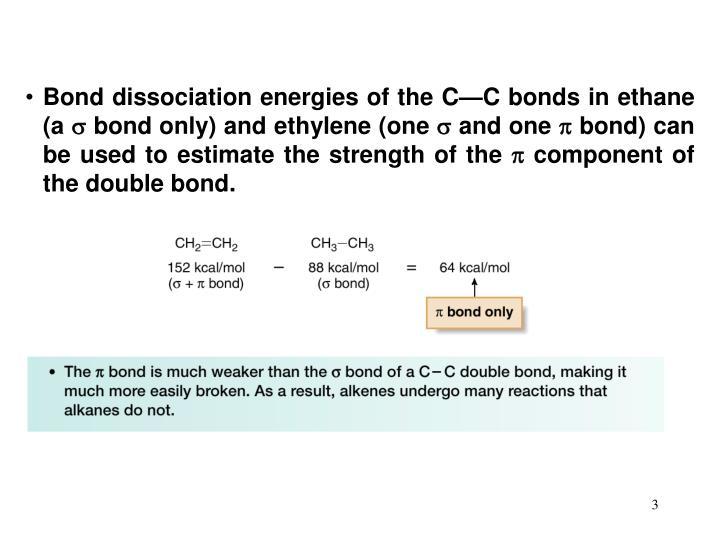 Bond dissociation energies of the C—C bonds in ethane (a