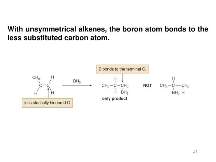 With unsymmetrical alkenes, the boron atom bonds to the less substituted carbon atom.