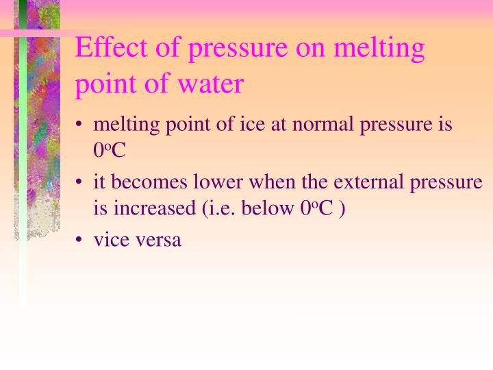 Effect of pressure on melting point of water