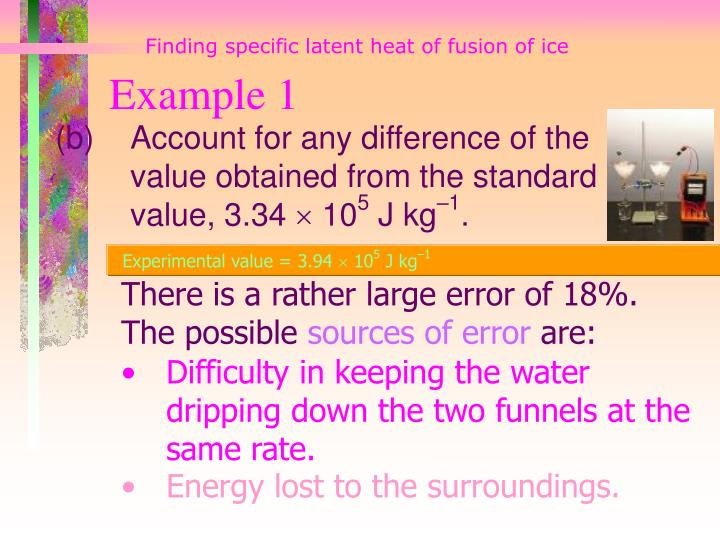 Finding specific latent heat of fusion of ice