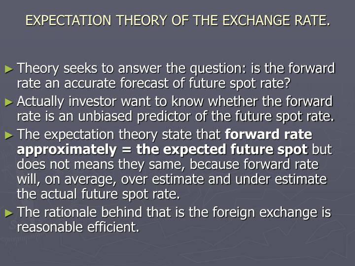 EXPECTATION THEORY OF THE EXCHANGE RATE.