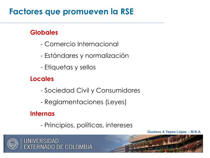 Factores que promueven la RSE