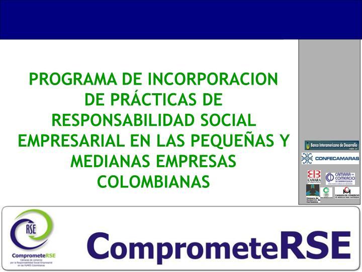 PROGRAMA DE INCORPORACION DE PRÁCTICAS DE RESPONSABILIDAD SOCIAL EMPRESARIAL EN LAS PEQUEÑAS Y MEDIANAS EMPRESAS COLOMBIANAS