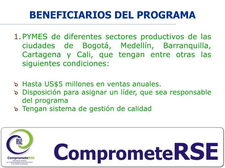 BENEFICIARIOS DEL PROGRAMA