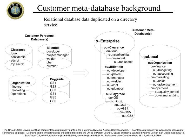 Customer meta-database background