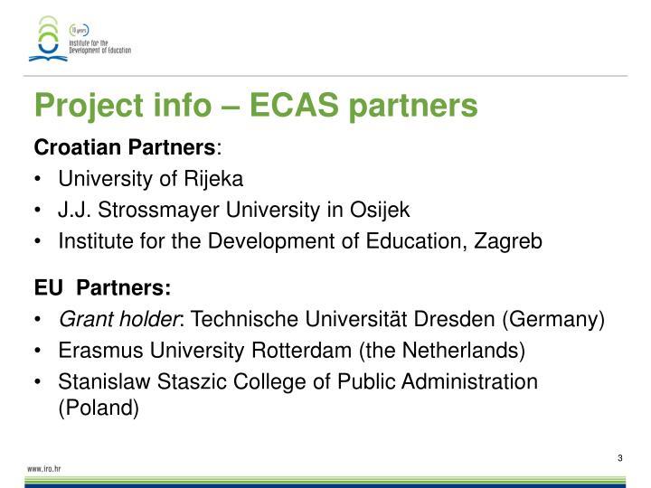 Project info – ECAS partners