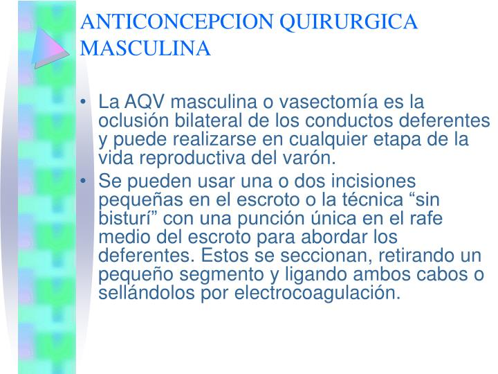 ANTICONCEPCION QUIRURGICA MASCULINA