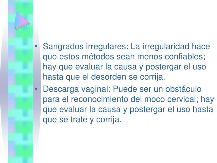 Sangrados irregulares: La irregularidad hace que estos métodos sean menos confiables; hay que evaluar la causa y postergar el uso hasta que el desorden se corrija.