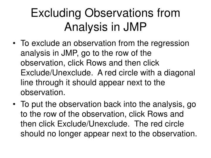 Excluding Observations from Analysis in JMP