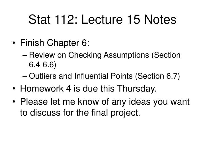 Stat 112 lecture 15 notes