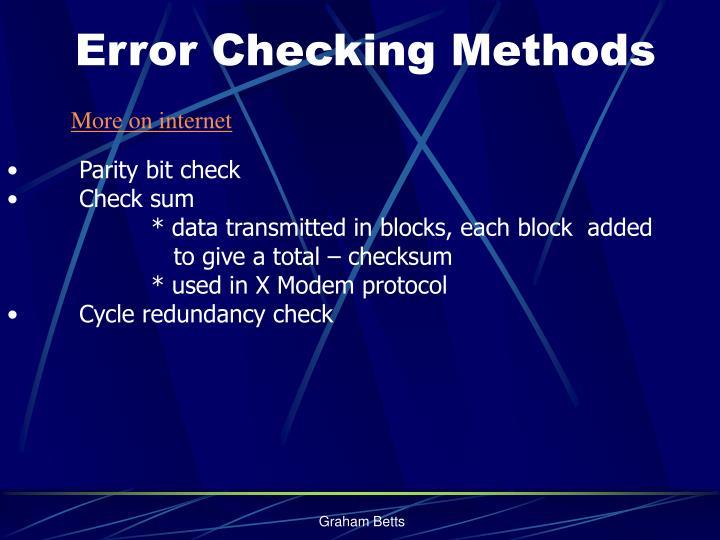 Error Checking Methods