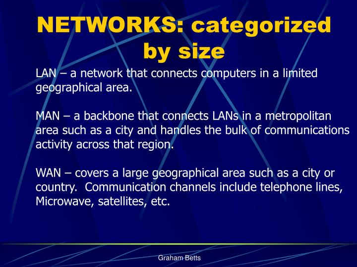 NETWORKS: categorized by size