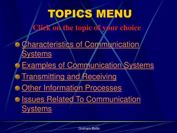 Topics menu