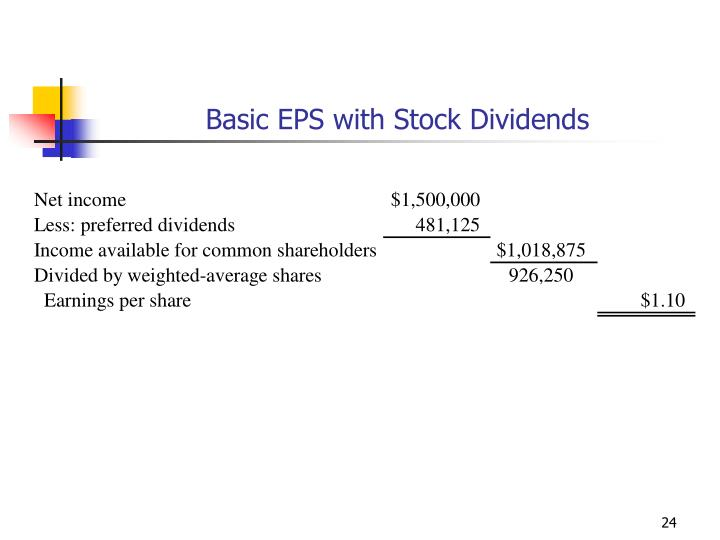 Basic EPS with Stock Dividends