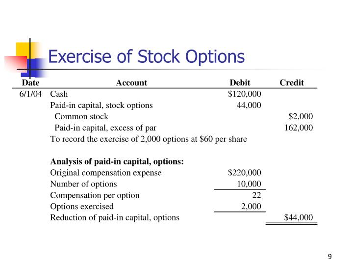 Exercise of Stock Options