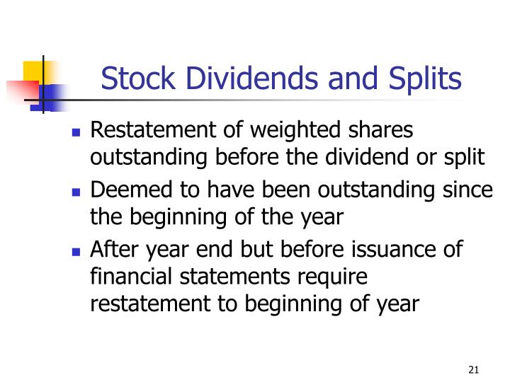Stock Dividends and Splits