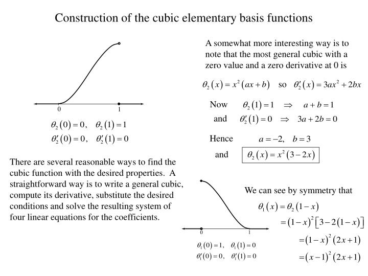 Construction of the cubic elementary basis functions