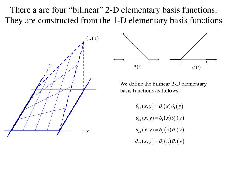 "There a are four ""bilinear"" 2-D elementary basis functions. They are constructed from the 1-D elementary basis functions"