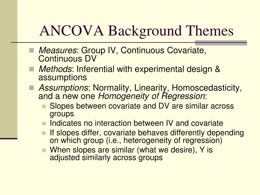 PPT - ANCOVA PowerPoint Presentation - ID:1274491