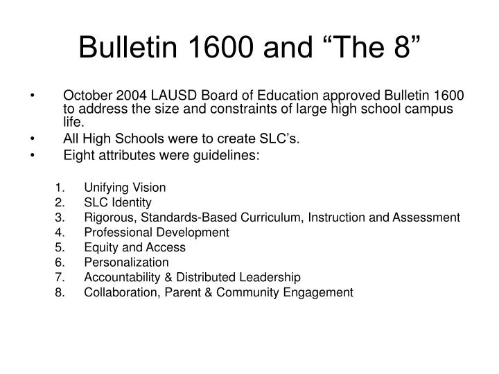 """Bulletin 1600 and """"The 8"""""""