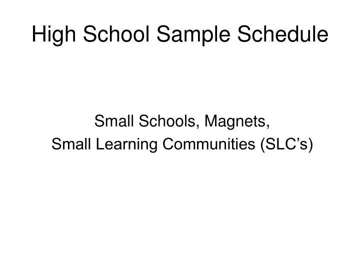 High School Sample Schedule
