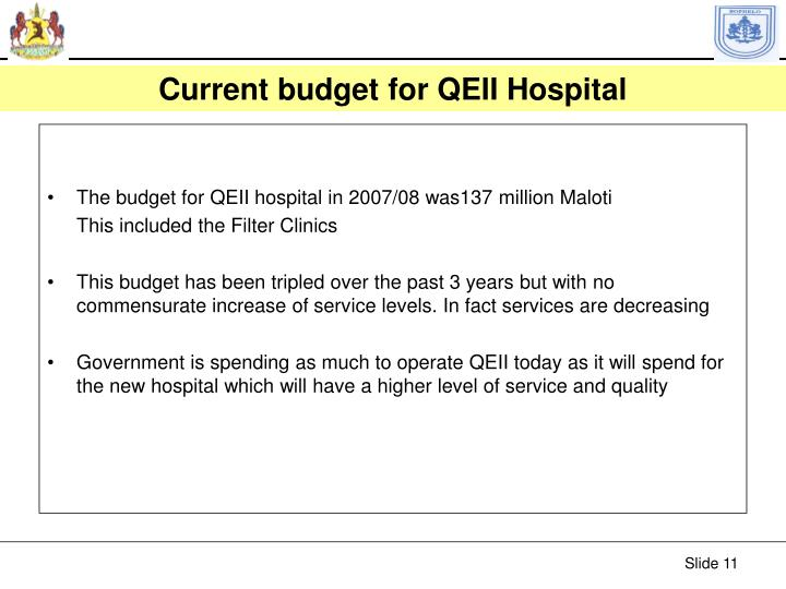 Current budget for QEII Hospital