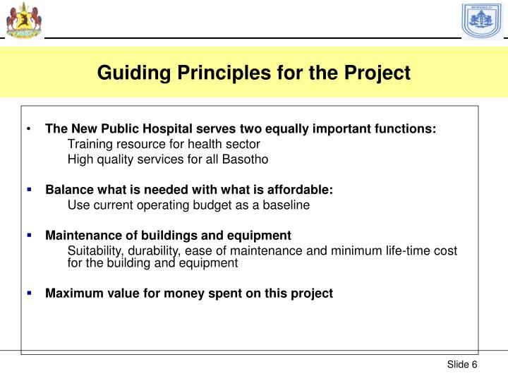 Guiding Principles for the Project